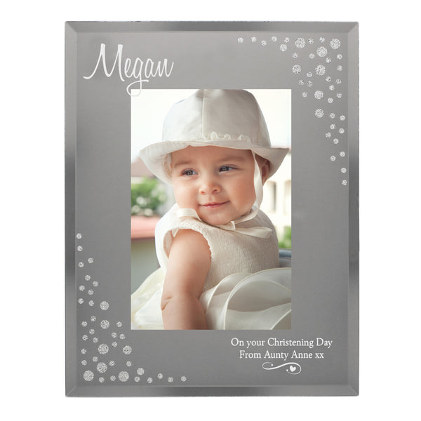 Personalised Swirls & Hearts Diamante 6x4 Glass Photo Frame white background
