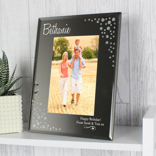 Personalised Swirls & Hearts Diamante 6x4 Glass Photo Frame from Sassy Bloom Gifts - alternative view
