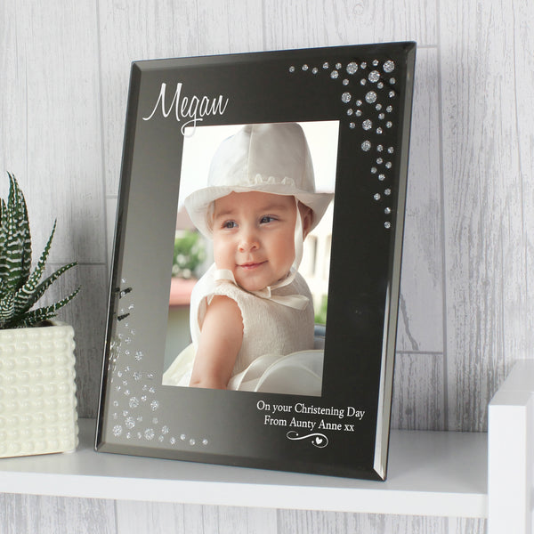 Personalised Swirls & Hearts Diamante 6x4 Glass Photo Frame lifestyle image