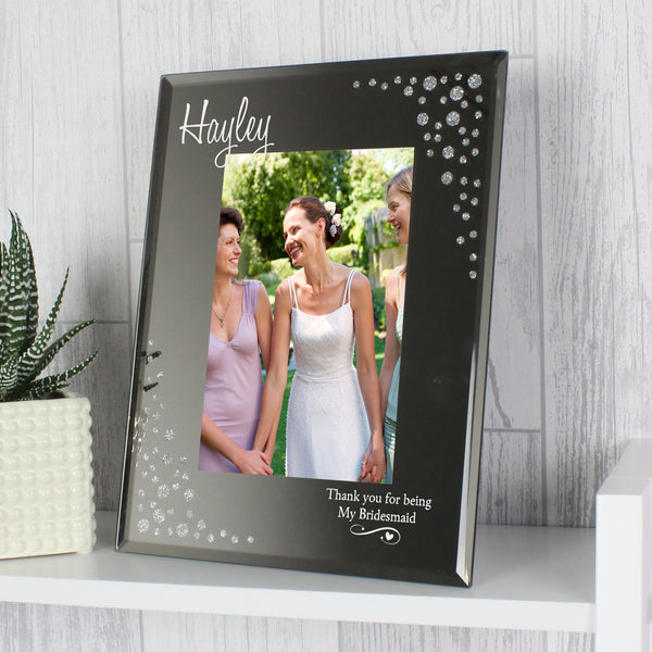 Personalised Swirls & Hearts Diamante 6x4 Glass Photo Frame with personalised name