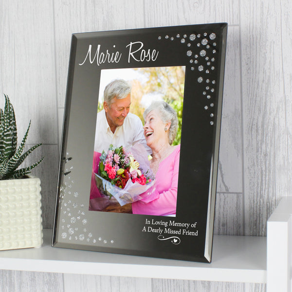 Personalised Swirls & Hearts Diamante 6x4 Glass Photo Frame