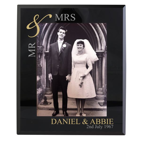 Personalised Gold Couples 5x7 Black Glass Photo Frame white background