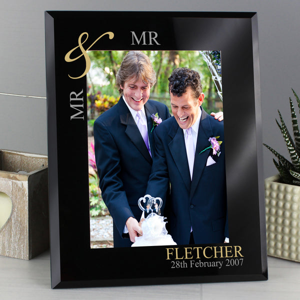 Personalised Gold Couples 5x7 Black Glass Photo Frame from Sassy Bloom Gifts - alternative view