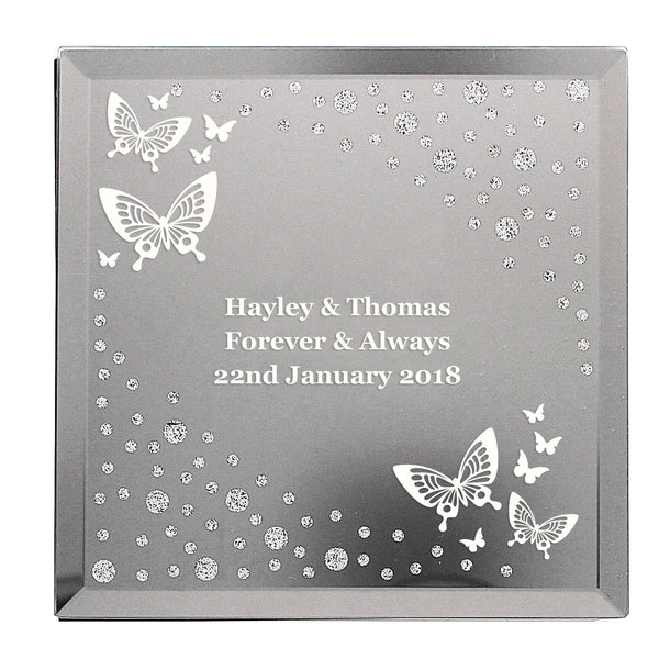 Personalised White Butterfly Diamante Glass Trinket Box white background