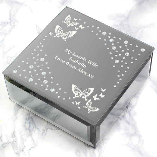 Personalised White Butterfly Diamante Glass Trinket Box with personalised name