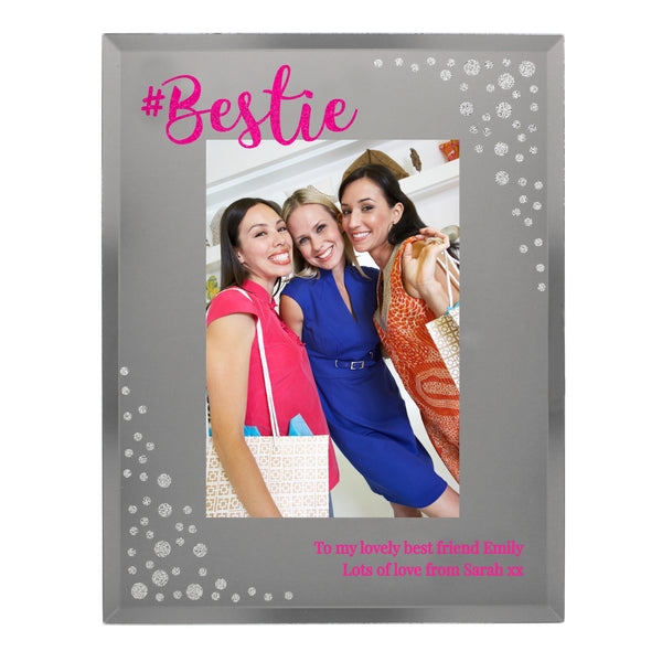 Personalised Bestie 4x6 Diamante Glass Photo Frame white background