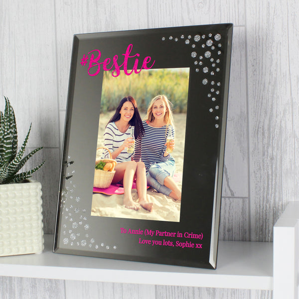 Personalised Bestie 4x6 Diamante Glass Photo Frame lifestyle image