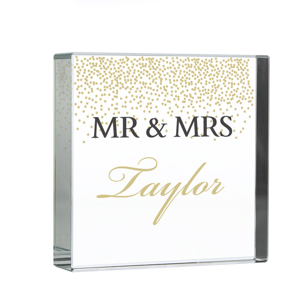 Personalised Gold Confetti Large Crystal Token white background