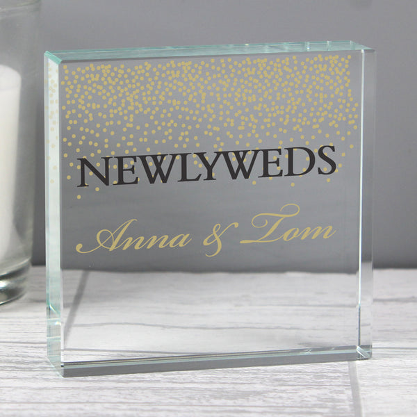 Personalised Gold Confetti Large Crystal Token with personalised name