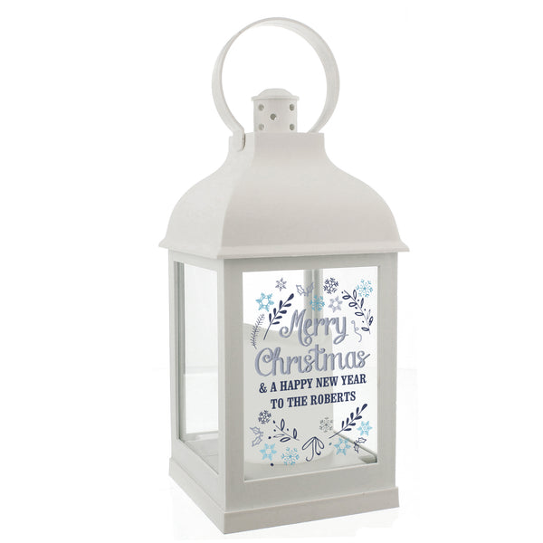 Personalised Christmas Frost White Lantern white background