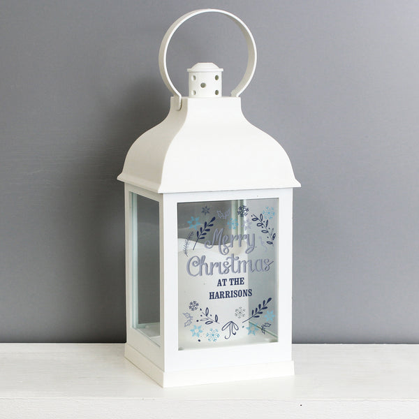Personalised Christmas Frost White Lantern from Sassy Bloom Gifts - alternative view