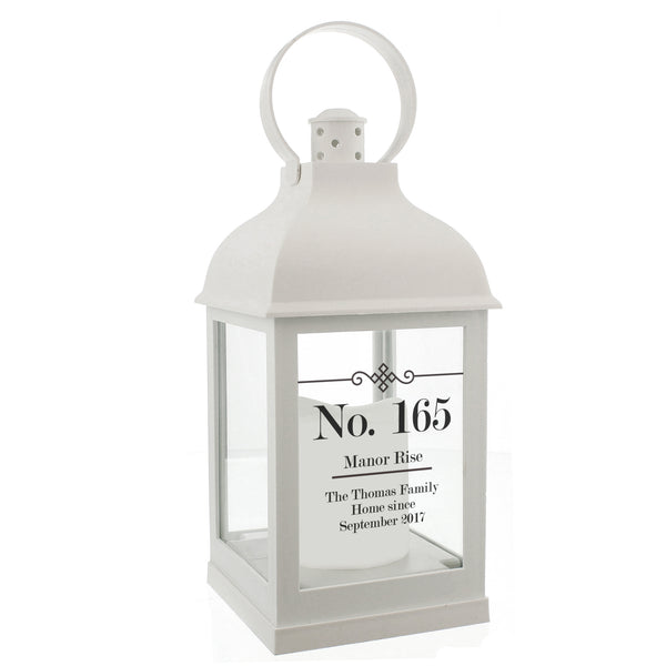 Personalised Elegant Diamond White Lantern white background