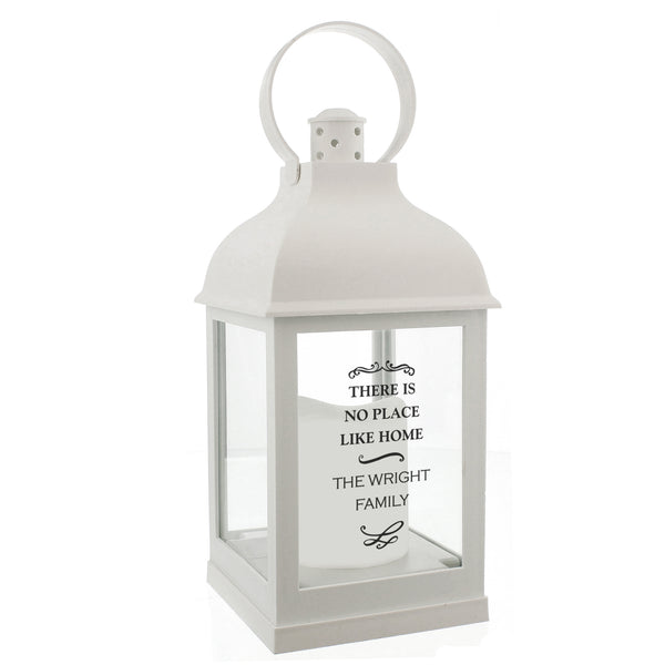 Personalised Antique Scroll White Lantern white background