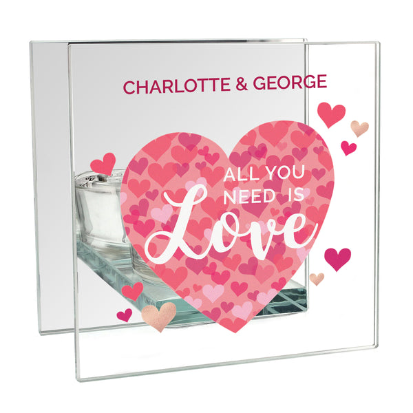 Personalised 'All You Need is Love' Confetti Hearts Glass Tea Light Candle Holder white background