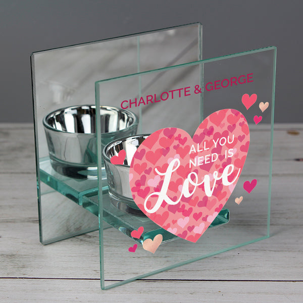 Personalised 'All You Need is Love' Confetti Hearts Glass Tea Light Candle Holder lifestyle image