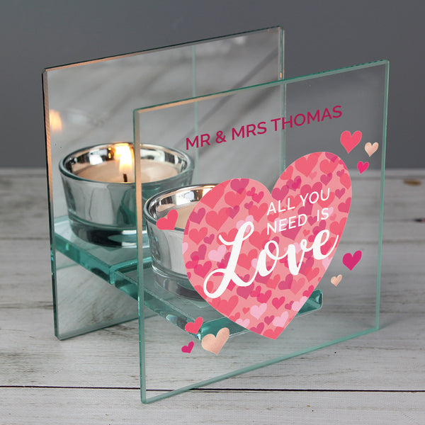 Personalised 'All You Need is Love' Confetti Hearts Glass Tea Light Candle Holder with personalised name