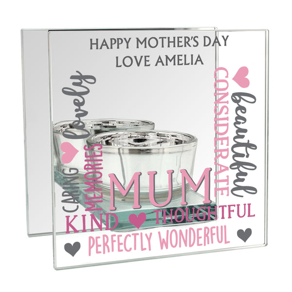 Personalised Mum Mirrored Glass Tea Light Holder white background