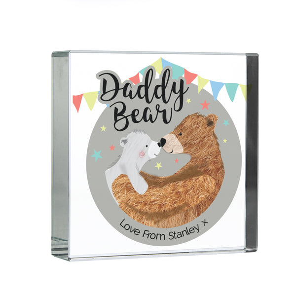 Personalised Daddy Bear Crystal Token white background