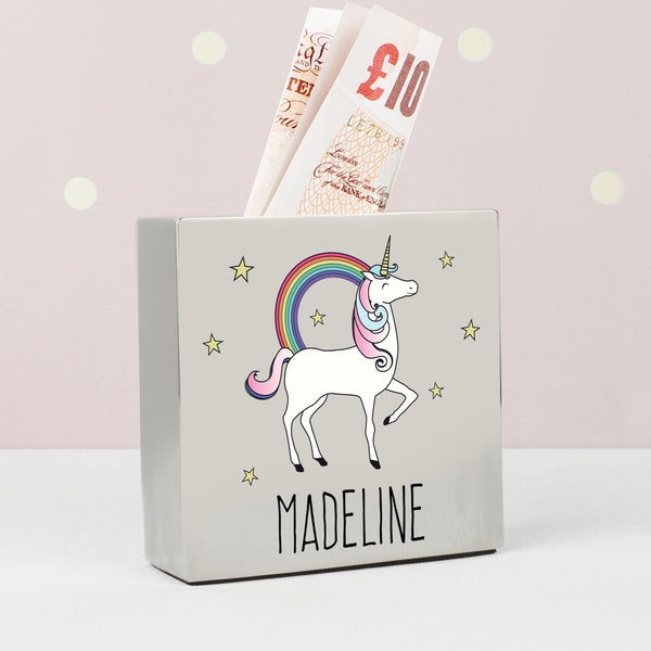 Personalised Unicorn Square Money Box from Sassy Bloom Gifts - alternative view