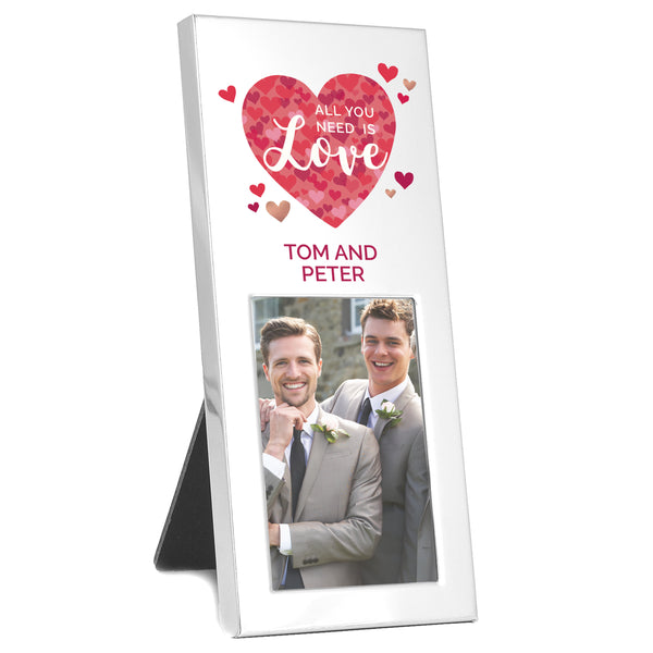 Personalised 'All You Need is Love' Confetti Hearts 2x3 Photo Frame white background