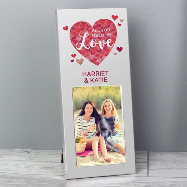 Personalised 'All You Need is Love' Confetti Hearts 2x3 Photo Frame from Sassy Bloom Gifts - alternative view