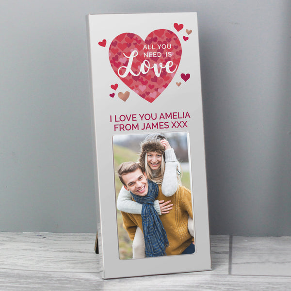 Personalised 'All You Need is Love' Confetti Hearts 2x3 Photo Frame with personalised name