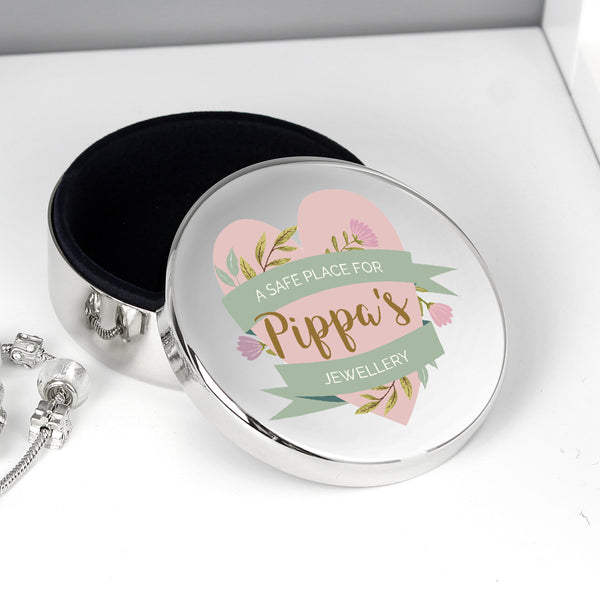 Personalised Floral Mother's Day Round Trinket Box with personalised name