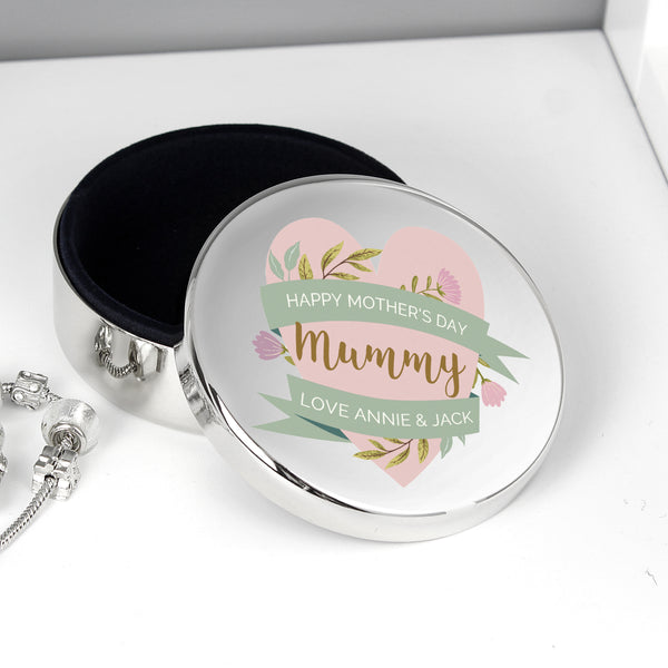 Personalised Floral Mother's Day Round Trinket Box