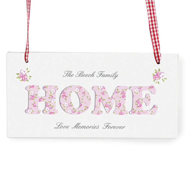 Personalised Floral Design Home Wooden Sign white background