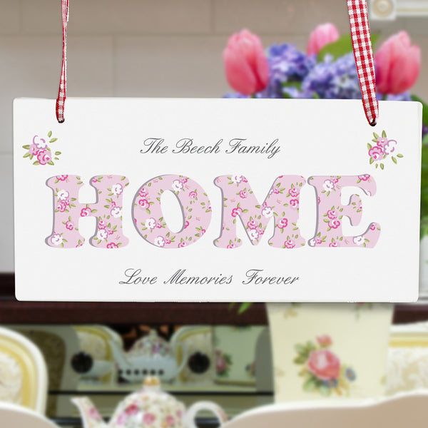Personalised Floral Design Home Wooden Sign lifestyle image