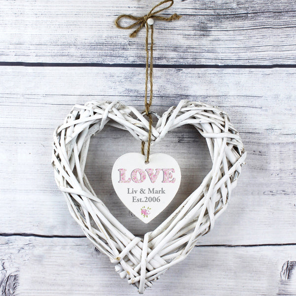 Personalised Floral Design Love Wicker Heart Decoration white background