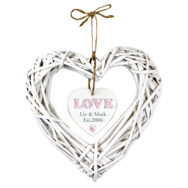 Personalised Floral Design Love Wicker Heart Decoration from Sassy Bloom Gifts - alternative view