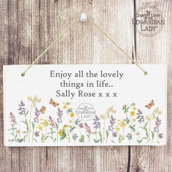 Personalised Country Diary Wild Flowers Wooden Sign lifestyle image