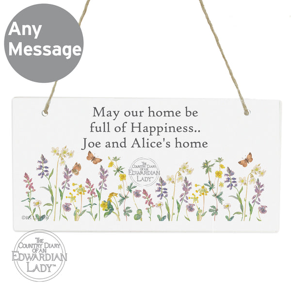 Personalised Country Diary Wild Flowers Wooden Sign
