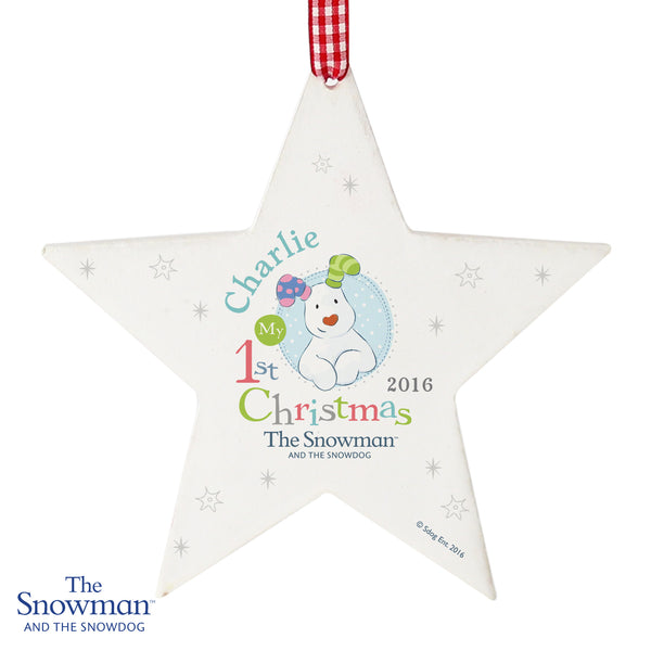 Personalised The Snowman and the Snowdog My 1st Christmas Blue Wooden Star Decoration white background