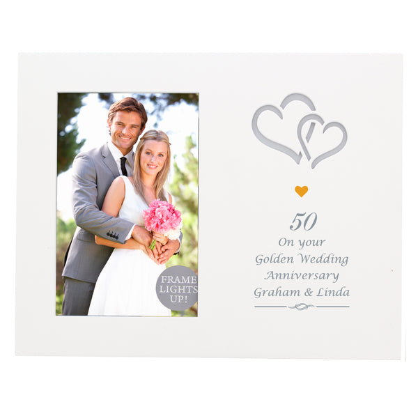 Personalised Gold Hearts 6x4 Light Up Frame white background