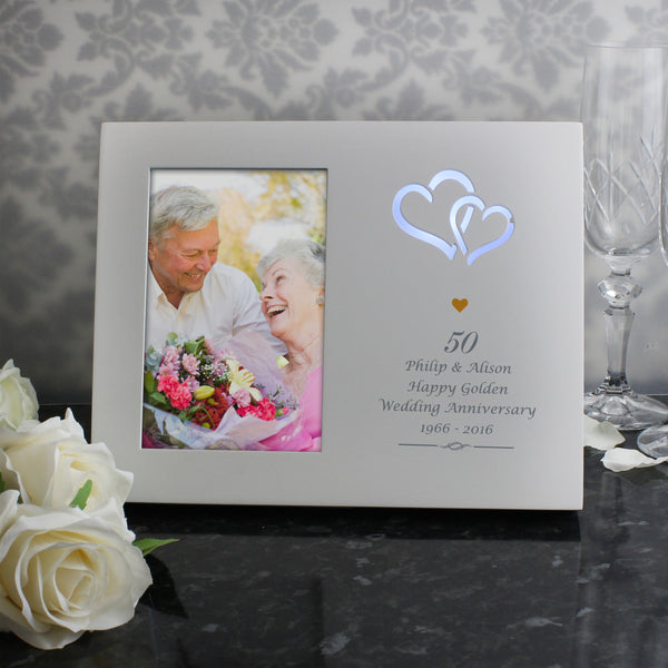 Personalised Gold Hearts 6x4 Light Up Frame from Sassy Bloom Gifts - alternative view