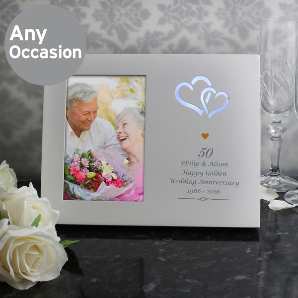 Personalised Gold Hearts 6x4 Light Up Frame lifestyle image