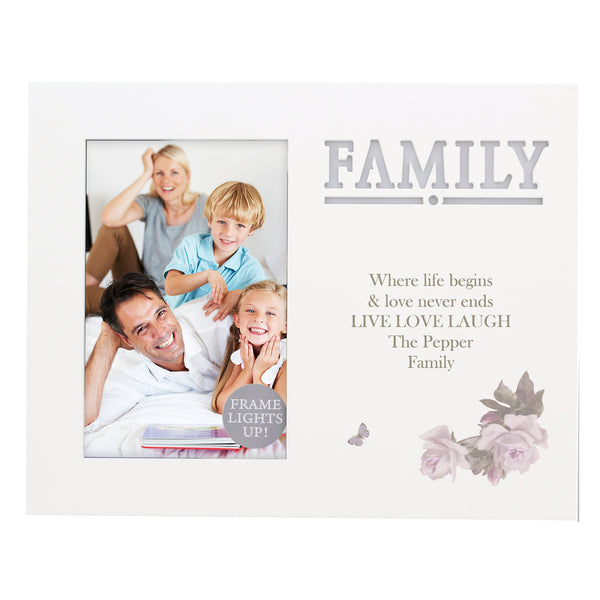Personalised Family Floral 6x4 Light Up Frame white background