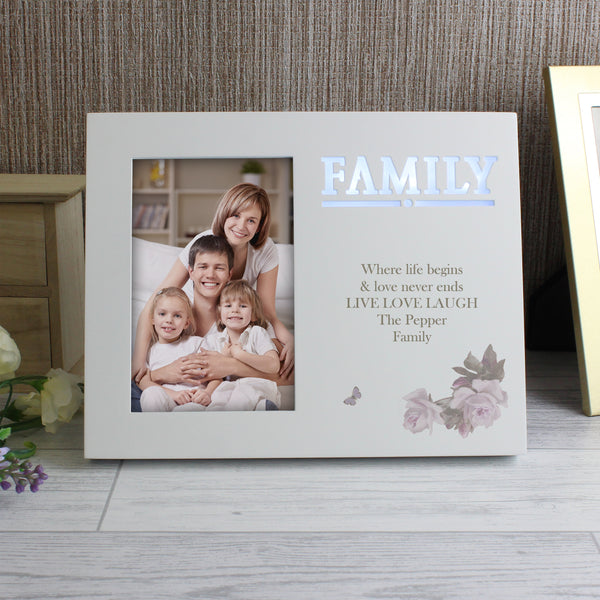 Personalised Family Floral 6x4 Light Up Frame from Sassy Bloom Gifts - alternative view