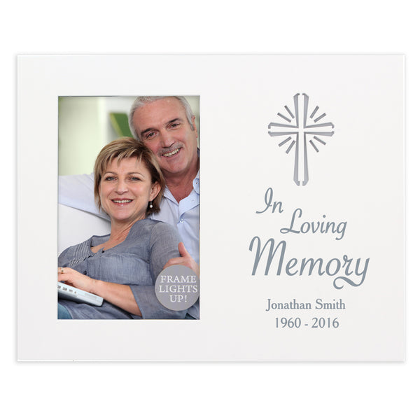 Personalised Cross Loving Memory 6x4 Light Up Frame white background