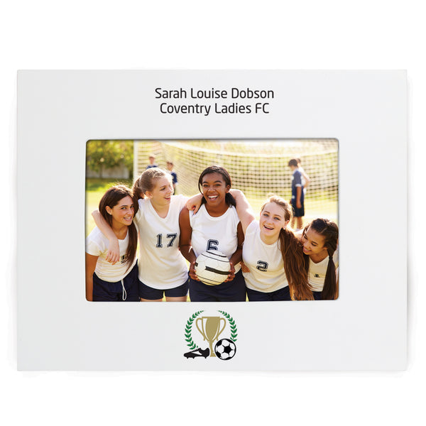 Personalised Football 6x4 White Wooden Photo Frame white background