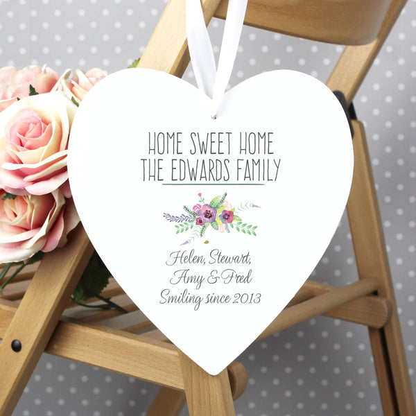Personalised Floral Bouquet 22cm Large Wooden Heart Decoration lifestyle image