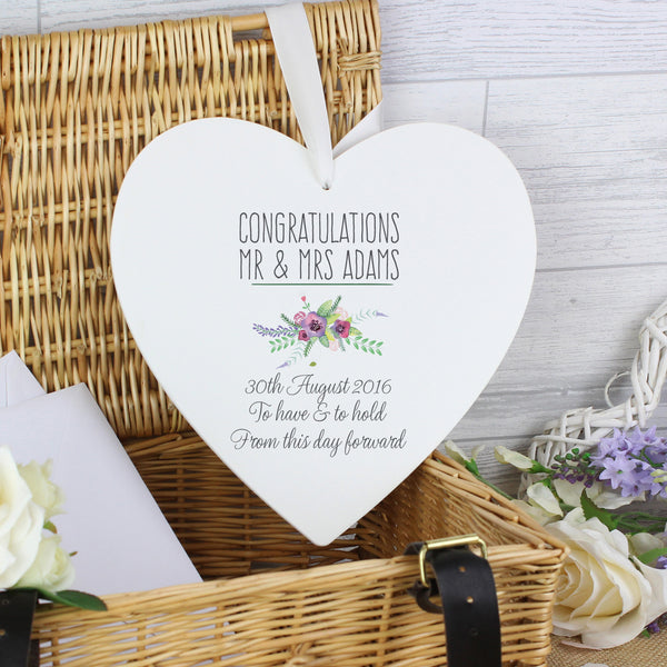 Personalised Floral Bouquet 22cm Large Wooden Heart Decoration with personalised name