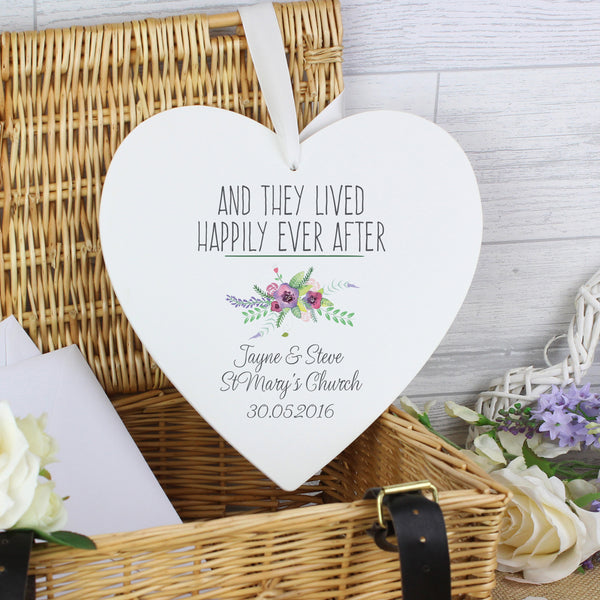 Personalised Floral Bouquet 22cm Large Wooden Heart Decoration