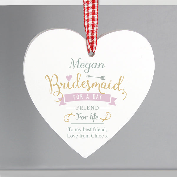 Personalised I Am Glad... Bridesmaid Wooden Heart Decoration from Sassy Bloom Gifts - alternative view