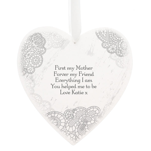 Personalised Dainty Lace 22cm Large Wooden Heart Decoration white background