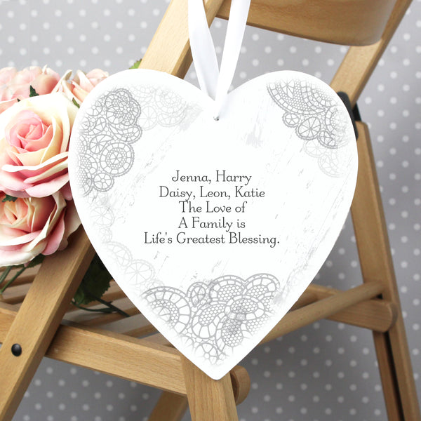 Personalised Dainty Lace 22cm Large Wooden Heart Decoration with personalised name