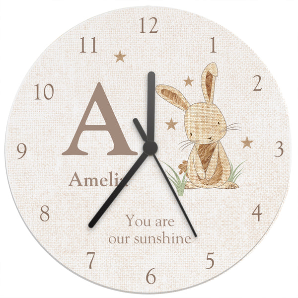 Personalised Hessian Rabbit Shabby Chic Large Wooden Clock white background