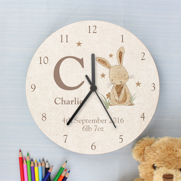 Personalised Hessian Rabbit Shabby Chic Large Wooden Clock lifestyle image